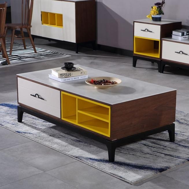 【纳德威】现代简约 茶几 工艺钢化玻璃台面 橡木实木脚 单抽屉 多功能储物