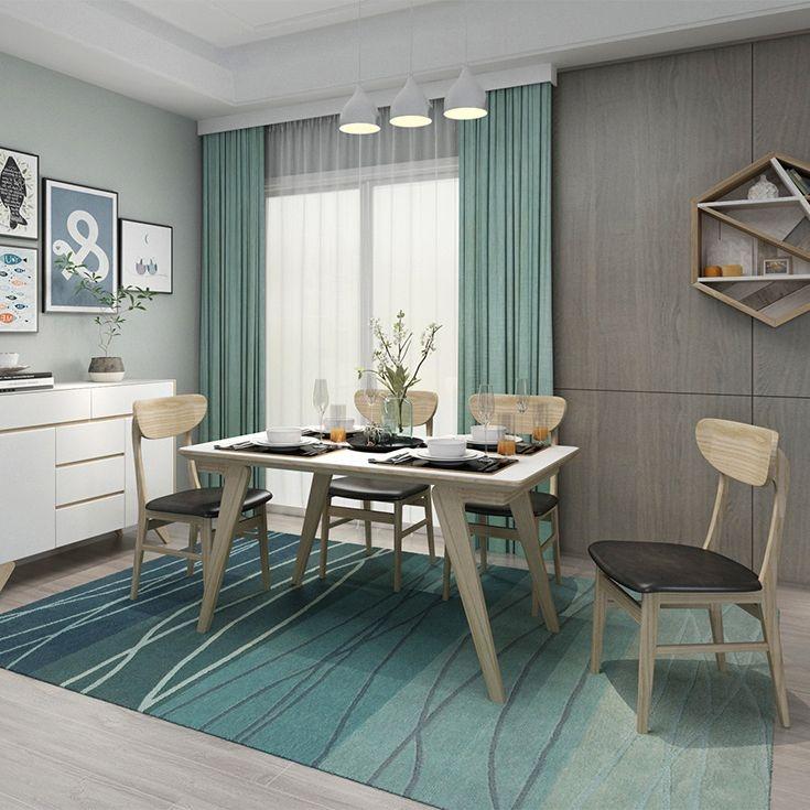 【优殿】碳素钢脚架做白腊木皮工艺 白色钢化玻璃面板 本色开放漆 北欧风格1.4米长餐桌