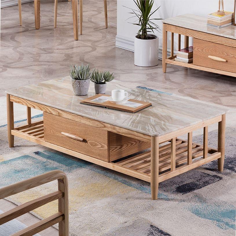 【优殿】易清洁大理石面板 两抽设计 北欧1.4米长茶几