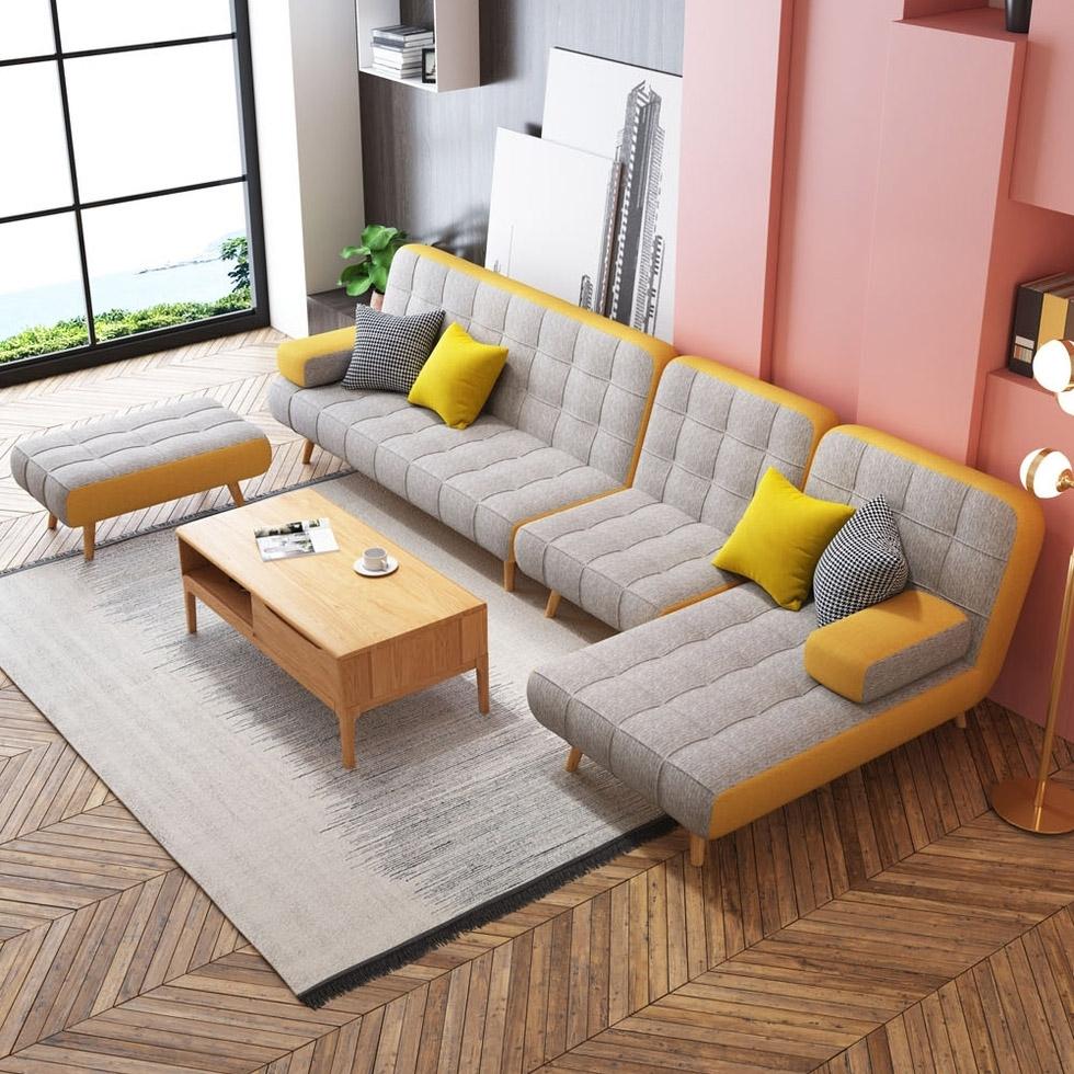 【玛蒂斯】现代风格布艺小户型沙发 透气棉麻 可拆洗办公室书房客厅两用沙发床 三人位 海绵沙发  1097