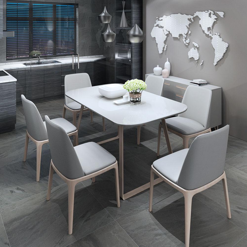 【天伦之乐】北欧宜家餐厅 白色钢化玻璃面板 北欧风格 米长餐桌餐椅  AL-CZ001/AL-CY001