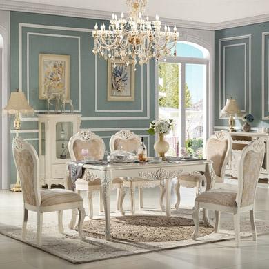 【玛蒂梦】欧式实木餐桌长方形实木雕花小户型高档吃饭桌子简欧餐桌