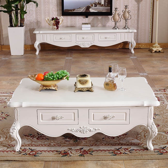 【玛蒂梦】欧式客厅家具 实木抽屉欧式茶几 优质茶几 双抽屉立体雕刻茶几