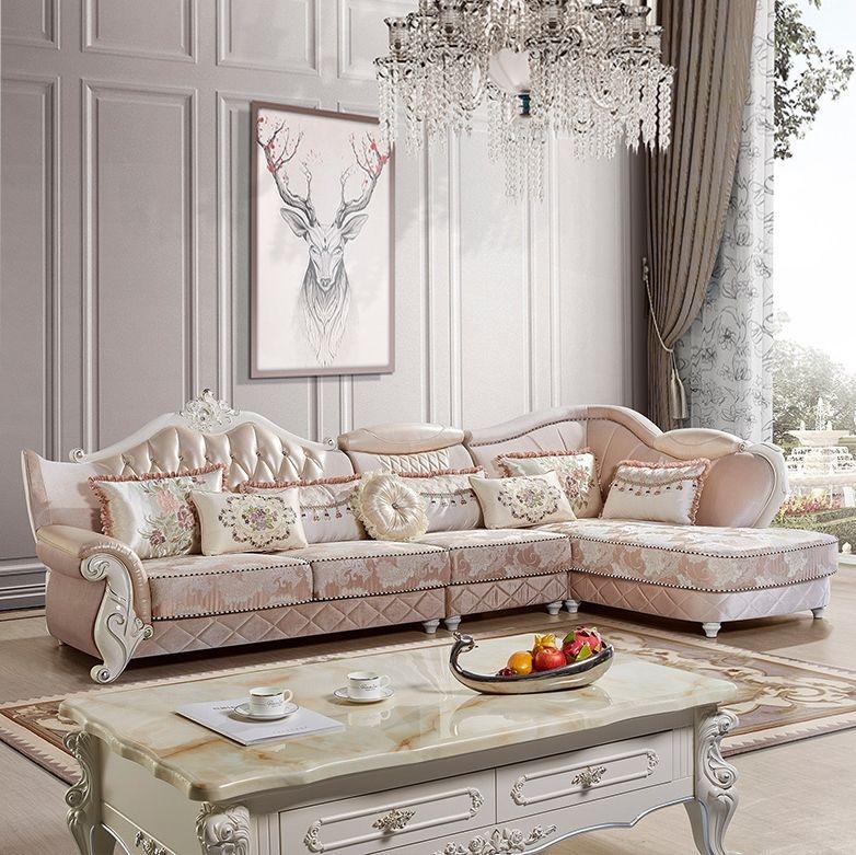 【红菲】稳固承重橡胶木脚 提花布坐垫 欧式风格沙发组合(1+3+左贵妃)