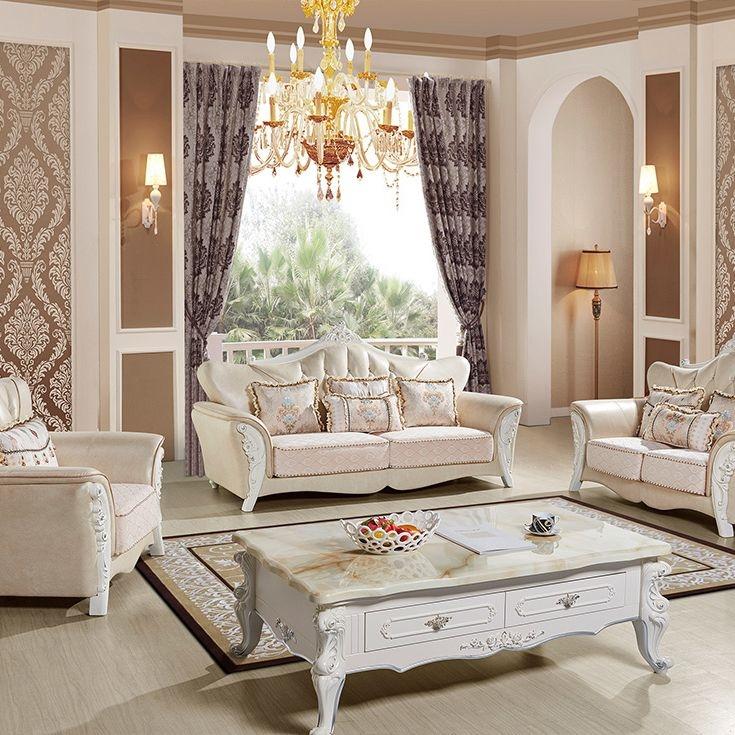 【红菲】坚韧橡胶木沙发脚 科技布靠背 欧式风格沙发组合(1+2+3)