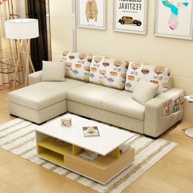 【宾缔】北欧现代时尚布艺沙发组合小户型客厅公寓三人位拆洗布艺沙发(送脚踏)