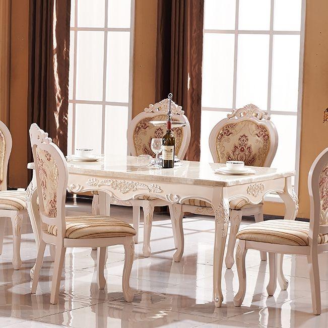 【纳德威】欧式实木雕花大理石餐桌