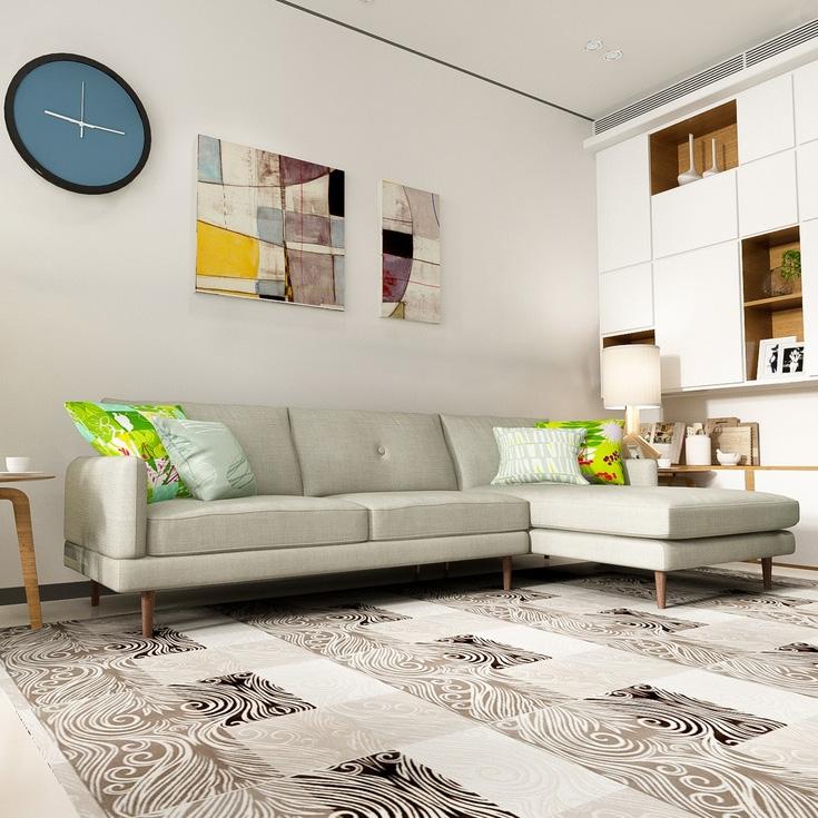 【蜗居时代】加长三米转角沙发透气亚麻面料 进口橡胶木脚 北欧简约沙发转角沙发