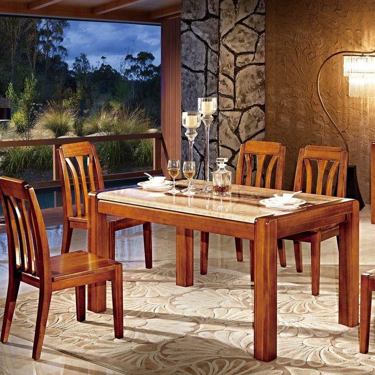 【裕鼎·逸品】抗油污大理石桌面 名贵楠木 宽厚立柱型承重桌脚 原木色泽 中式风格1.5米长餐桌