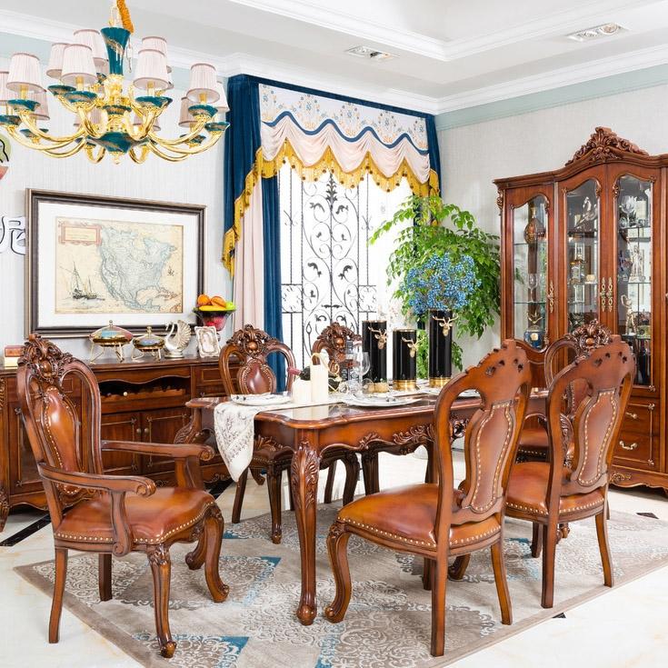 【博洛妮亚】进口桃花芯木美式古典手工雕花豪华餐桌