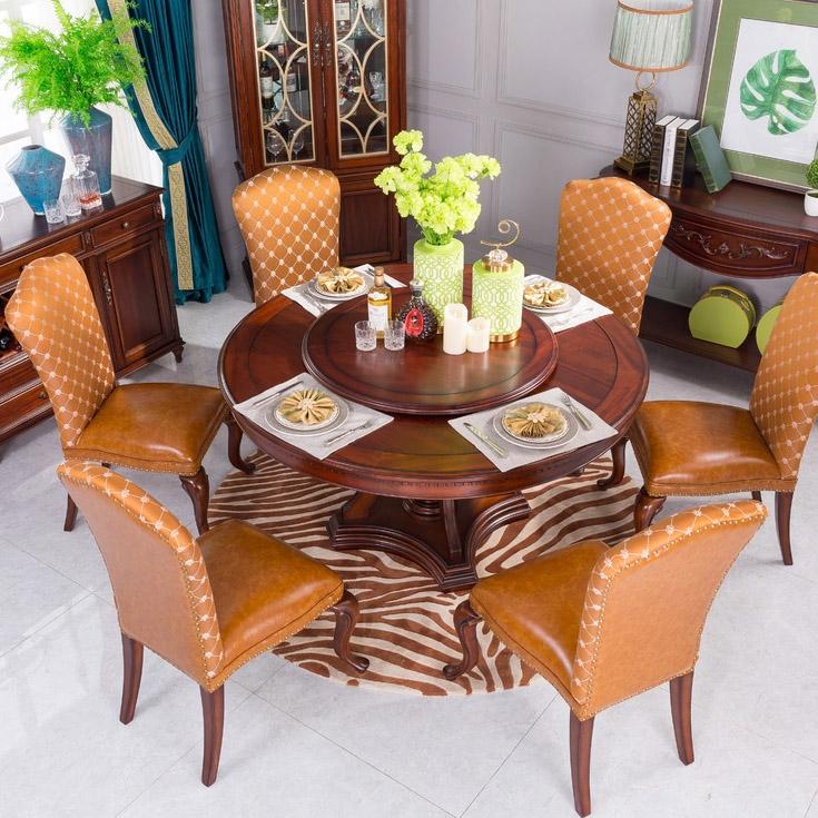 【博洛妮亚】进口桃花芯木美式圆餐桌1.35米圆桌