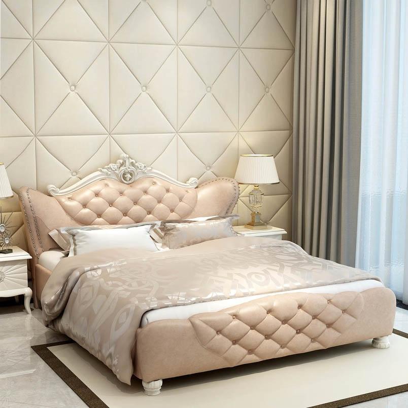 【玛蒂梦】头层真皮床 1.8米皮艺大床 实木框架设计 稳固美观