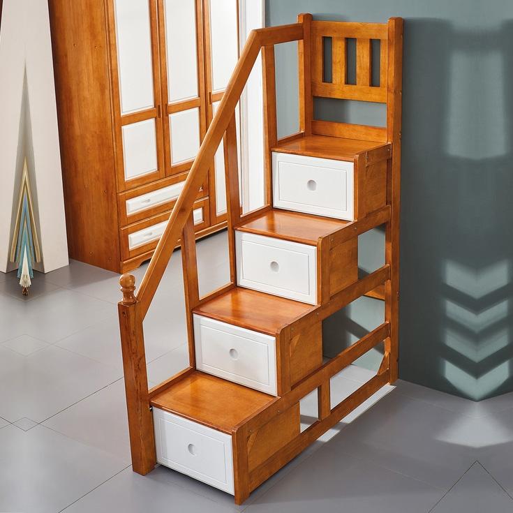 【梓华轩】全实木上下床独立梯柜 双层床配套踏步梯 儿童床安全梯子 (上下床的挂梯、梯柜同时带)