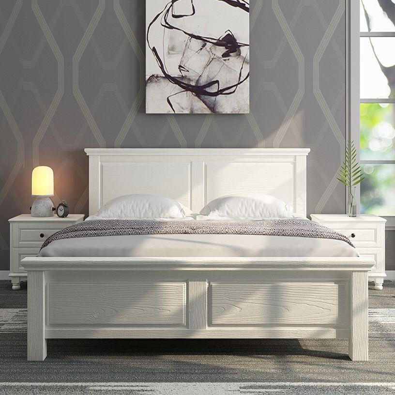 【梓华轩】泰国橡胶木全实木双人床 象牙白色单床 1.5米床