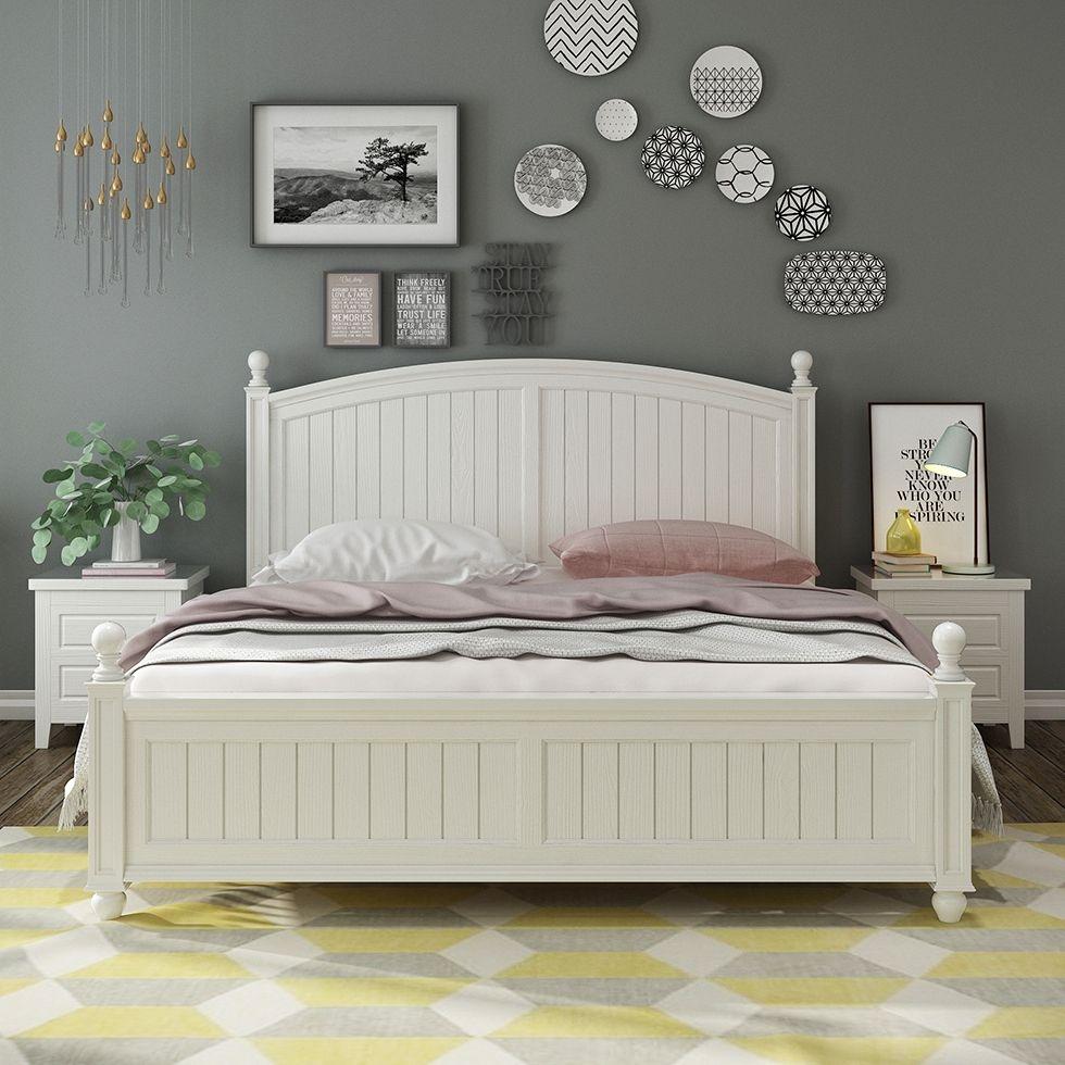 【梓华轩】橡胶木双人床 实木单床 象牙白色1.5米床