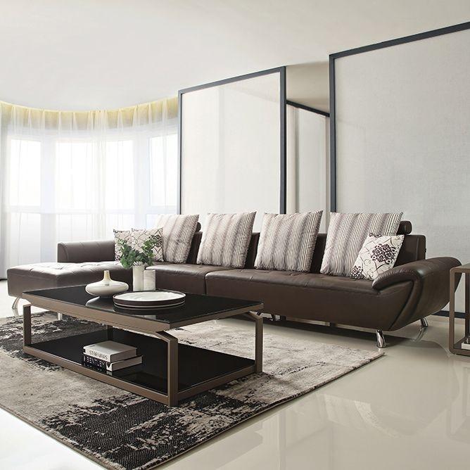 【简非】精选优质五金脚 结实坚固框架 现代极简风皮艺沙发组合  J680A