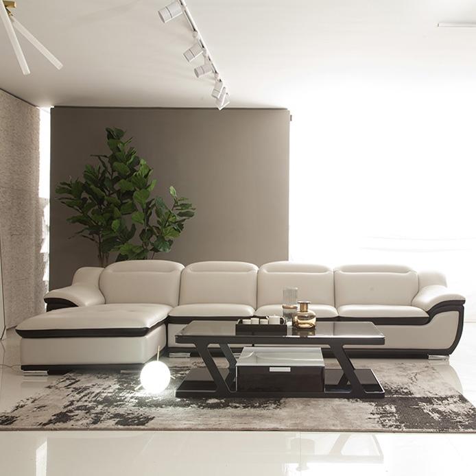 【简非】结构坚固实木框架 简约时尚现代风格皮艺沙发  J833
