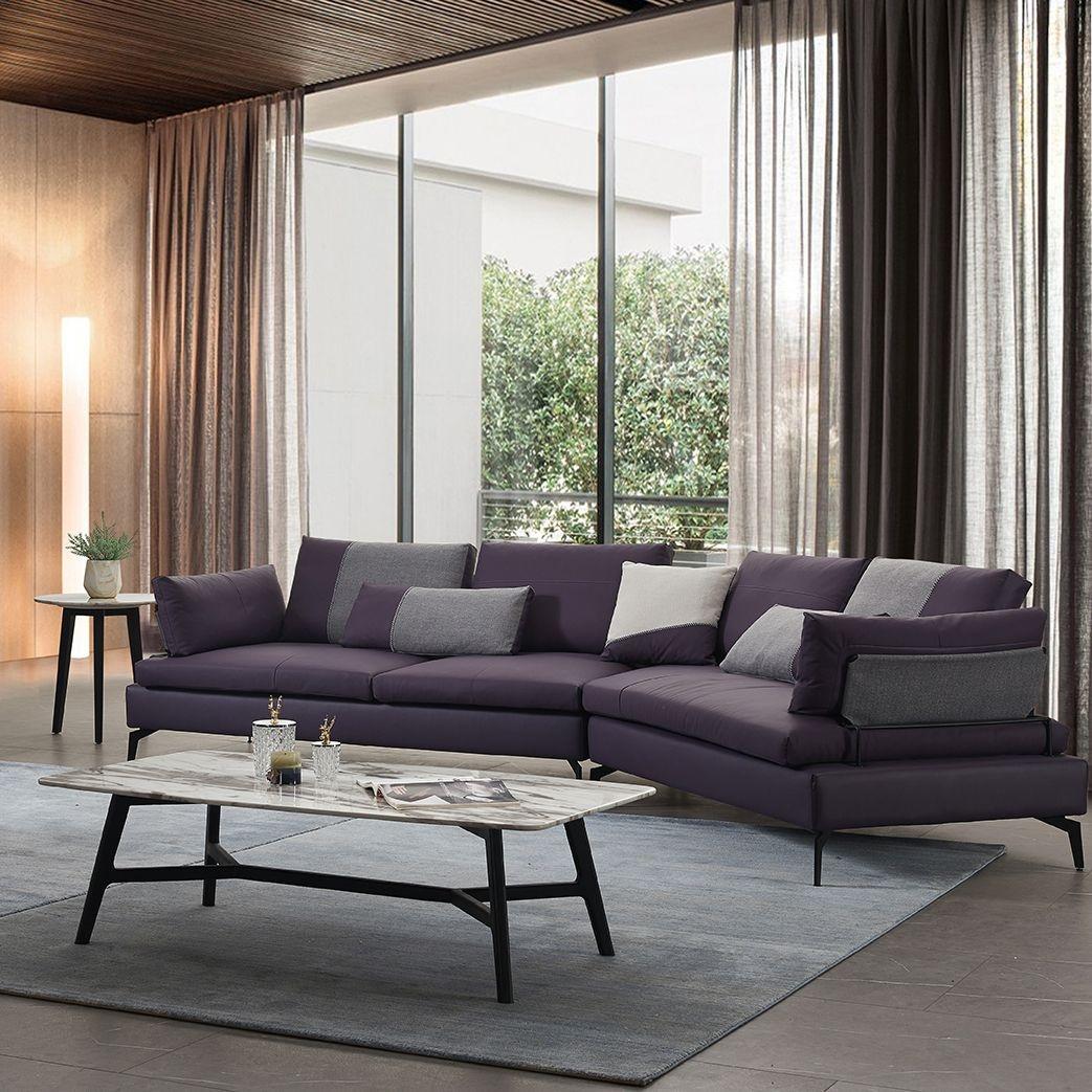 【简非】 真皮皮艺沙发  防锈耐腐电镀五金脚  极简风格转角沙发组合  J956