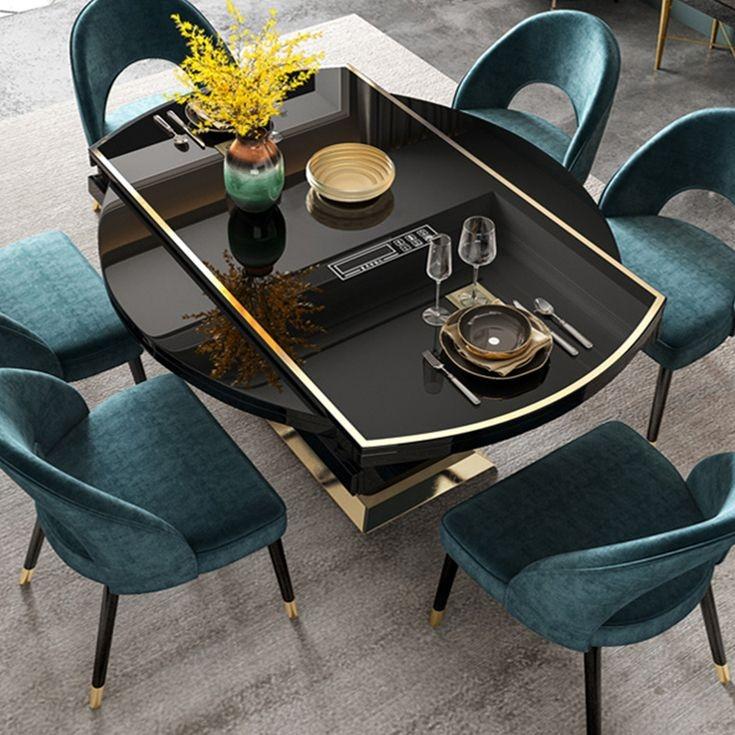 【磐匠】轻奢伸缩餐桌椅组合 家用小户型收纳圆形餐桌 多功能带电磁炉桌子