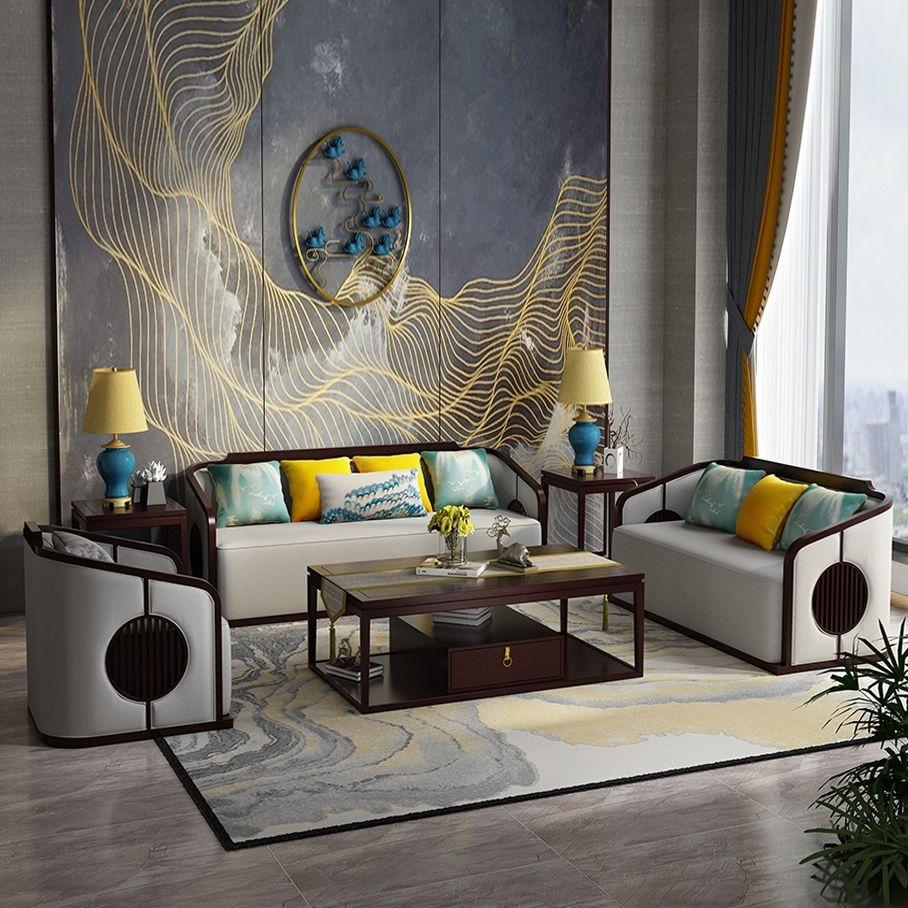 【邦美森】新中式古典轻奢全实木布艺组合沙发NS4004