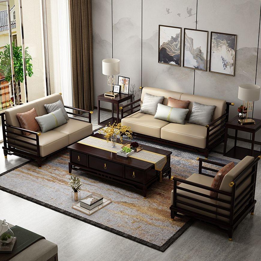 【邦美森】新中式古典轻奢全实木皮艺组合沙发NS4006