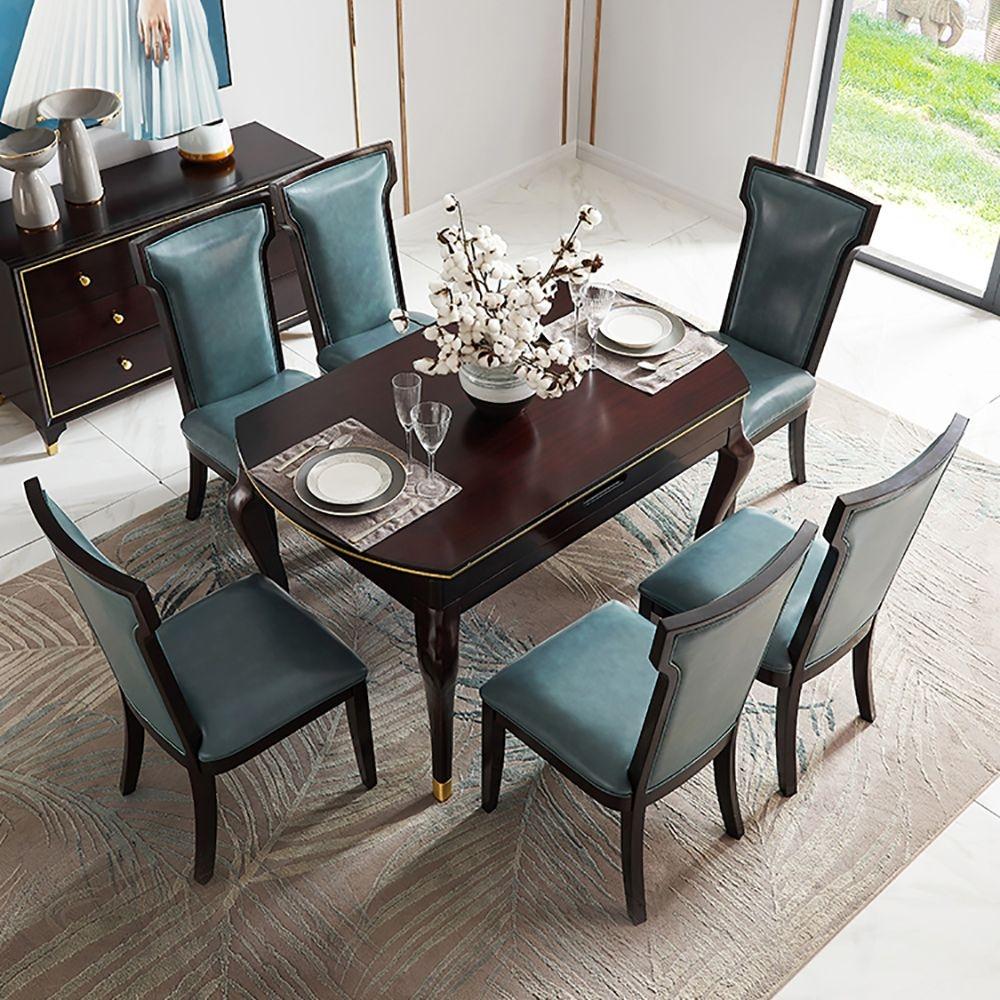 【邦美森】美式轻奢餐桌椅组合小户型餐厅家具现代简约实木吃饭桌家用MK2105