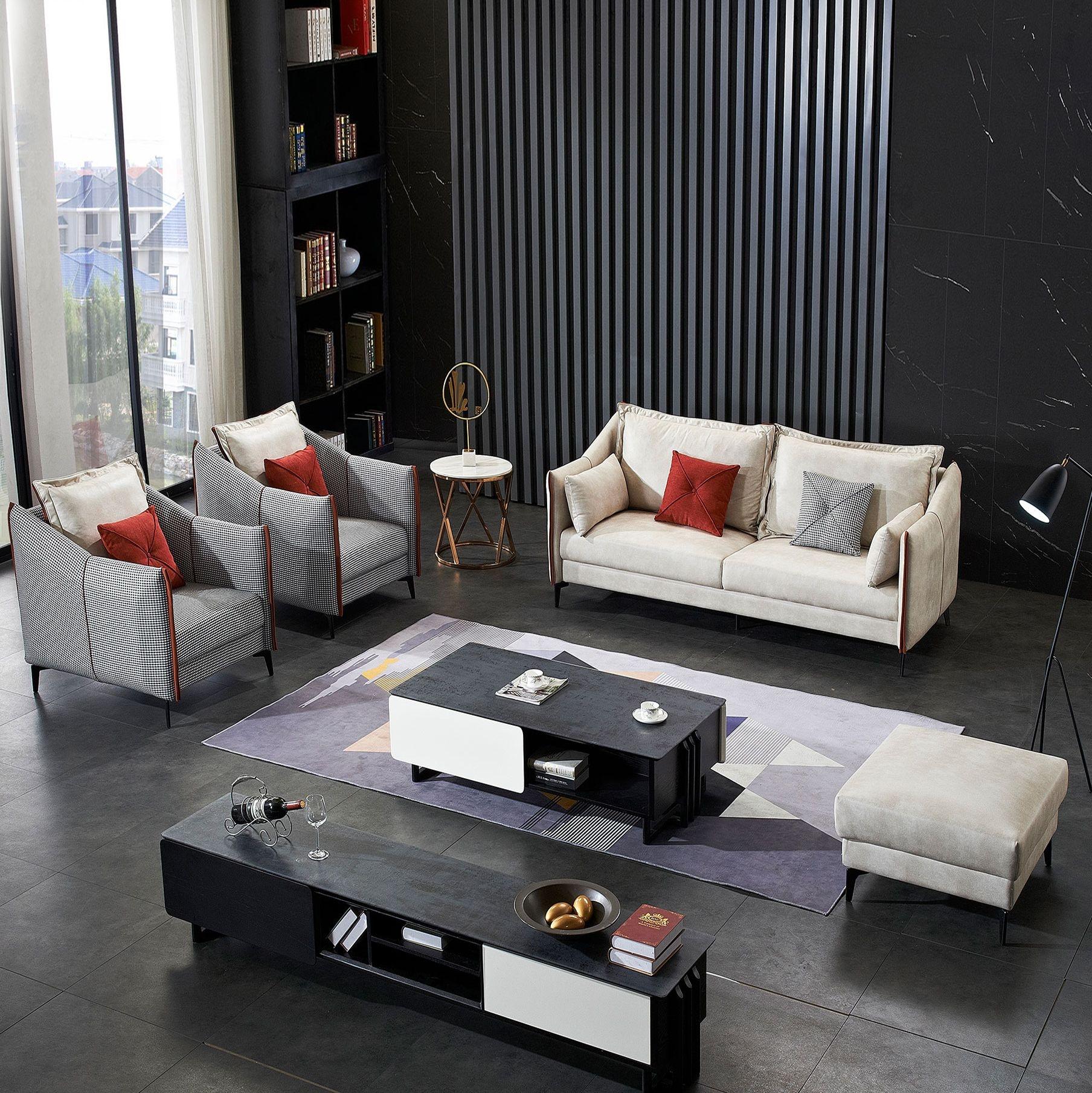 【红菲】现代风格 时尚温馨 亲肤透气棉科技布布艺沙发 客厅组合沙发 沙发五金脚木脚   A48#