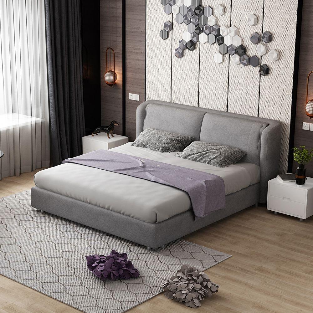 【纳德威】现代简约布艺时尚大床  全拆洗结构  1.8米布艺双人床 ND48