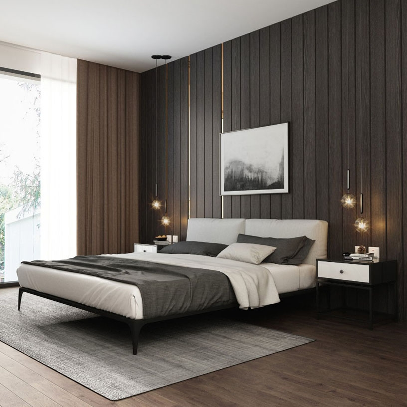 【艾菲家居】极简系列 简约时尚棉麻抗污布艺床 卧室床 排骨架实木双人床