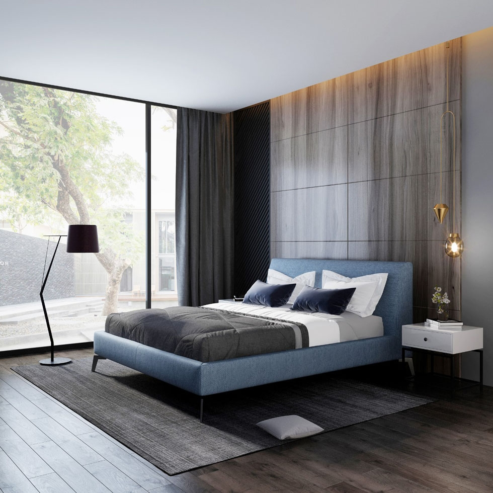 【艾菲家居】极简系列 简约时尚麻绒抗污布艺床 卧室床 排骨架实木双人床