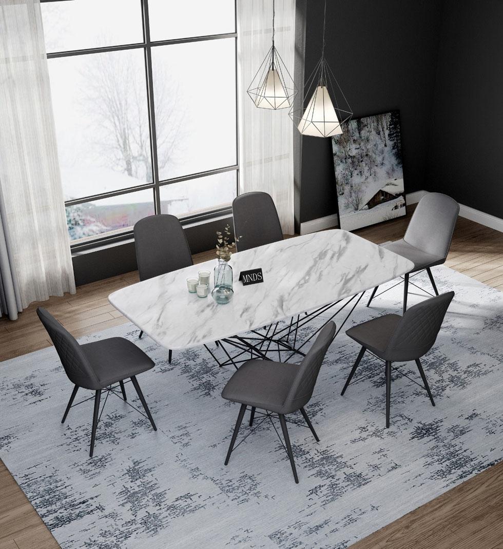【艾菲家居】极简系列 不锈钢大理石餐桌