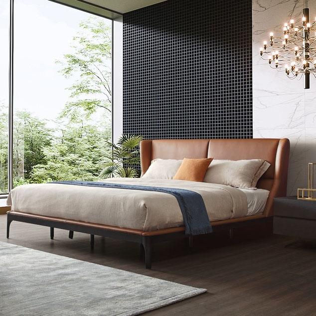 【简非】极简风格 俄罗斯进口松木实木床 真皮舒适靠背软床 桦木排骨架实木1.8米双人床