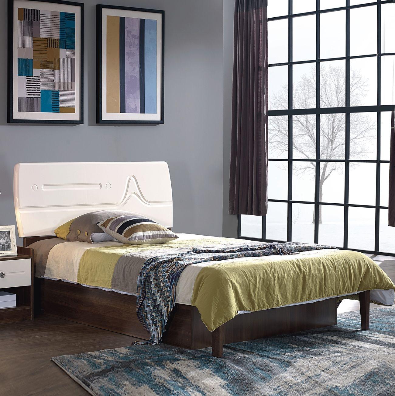 【金柏居】唯爱系列  白蜡木色 简约时尚 清晰木纹 简约现代 北欧实木框架 儿童床