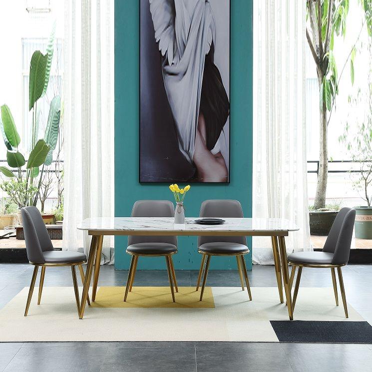 【极之美】轻奢系列 广西天然大理石抗污面板 经久耐用不锈钢 餐桌