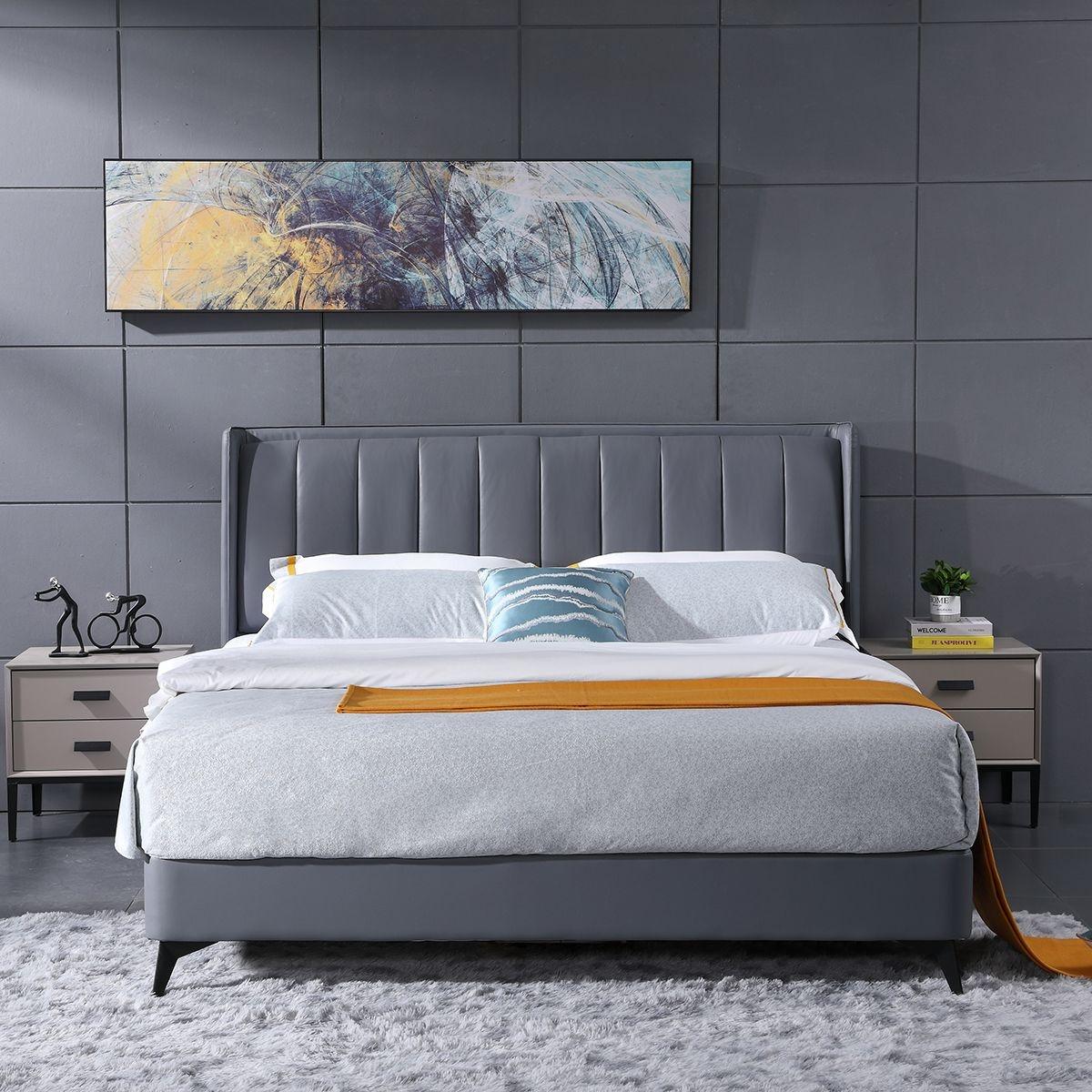 【罗富帝斯】结构坚固实木框架 高档舒适纳帕真牛皮北欧风格 灰色大床