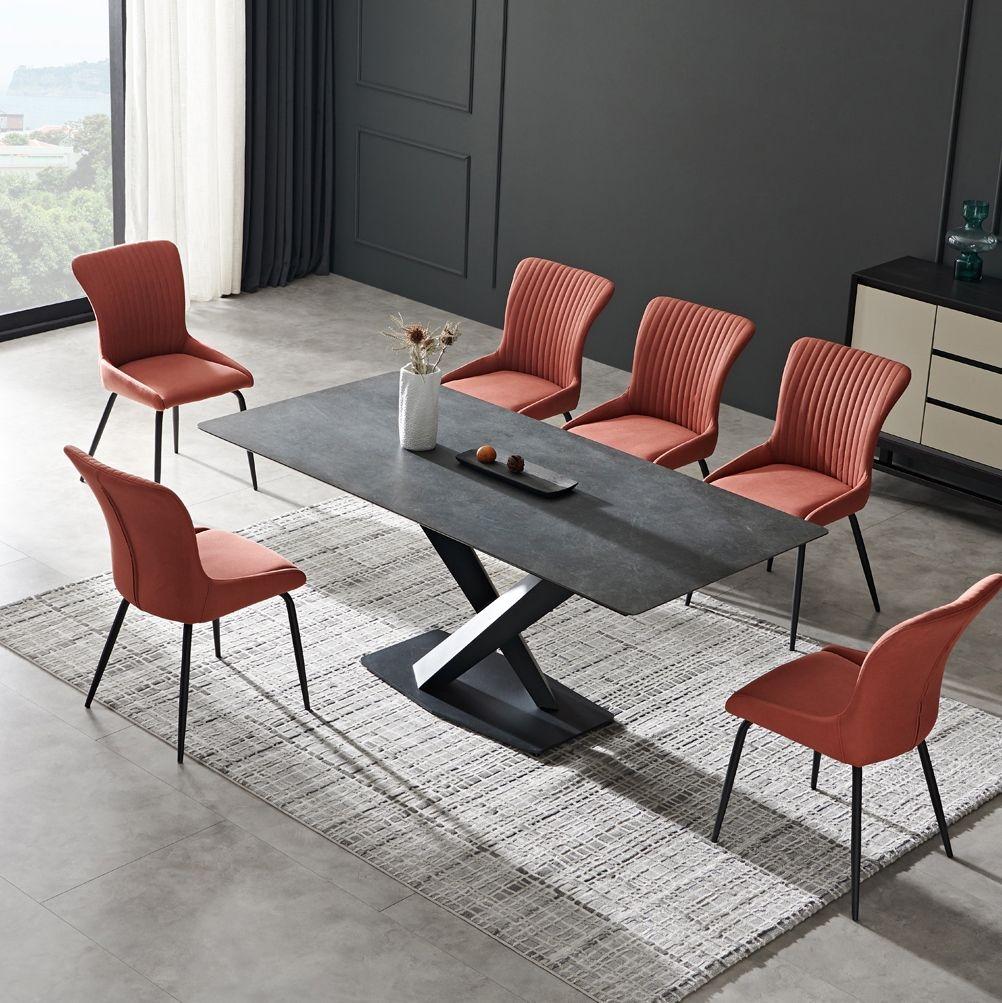 【金柏居】简意系列 天然木纹桌面 维克深灰+岩板 北欧风格六人位长餐桌