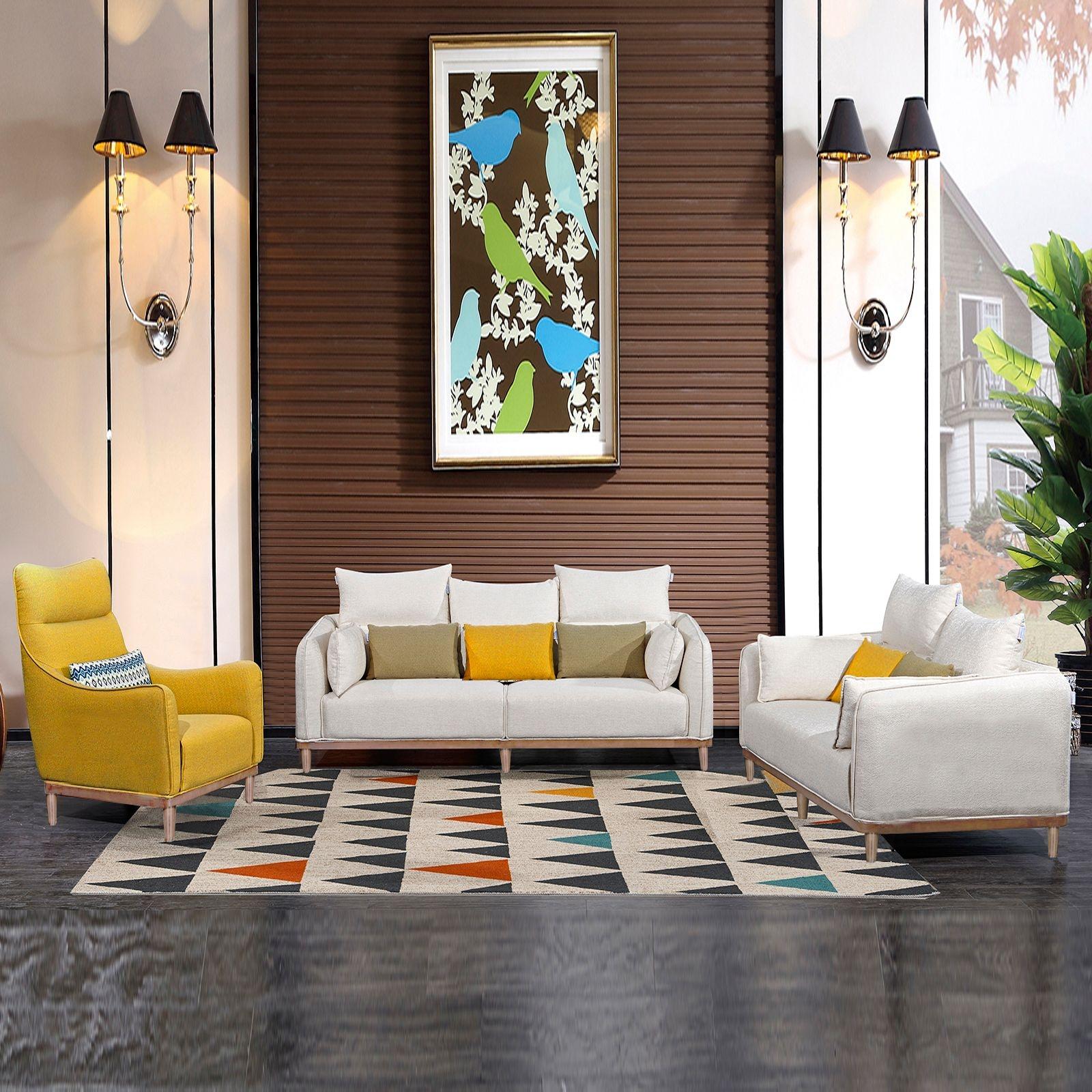 【双虎】亮丽黄色百搭清新白色时尚北欧系列布艺沙发组合