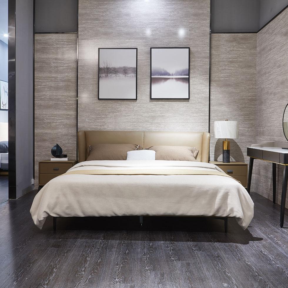 【极之美】极简系列  头层黄牛皮 简约时尚床 现代风格双人床