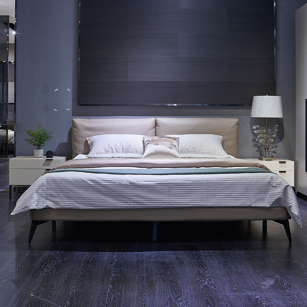 【极之美】极简系列 现代极简风格  双人床  加密钢木排骨架