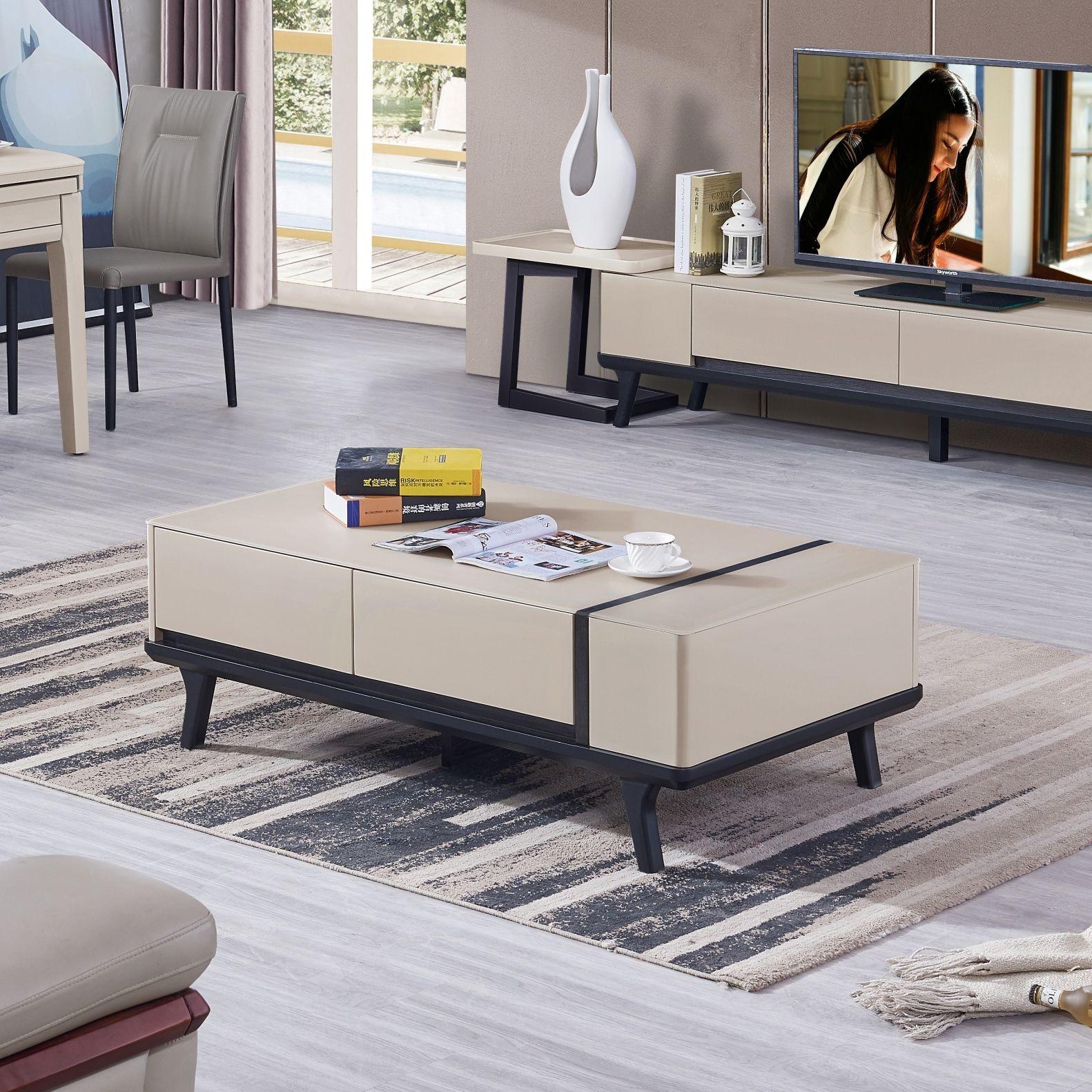 【新红阳】新优美系列  现代极简 实木底框 稳固耐用耐刮花玻璃台面 茶几