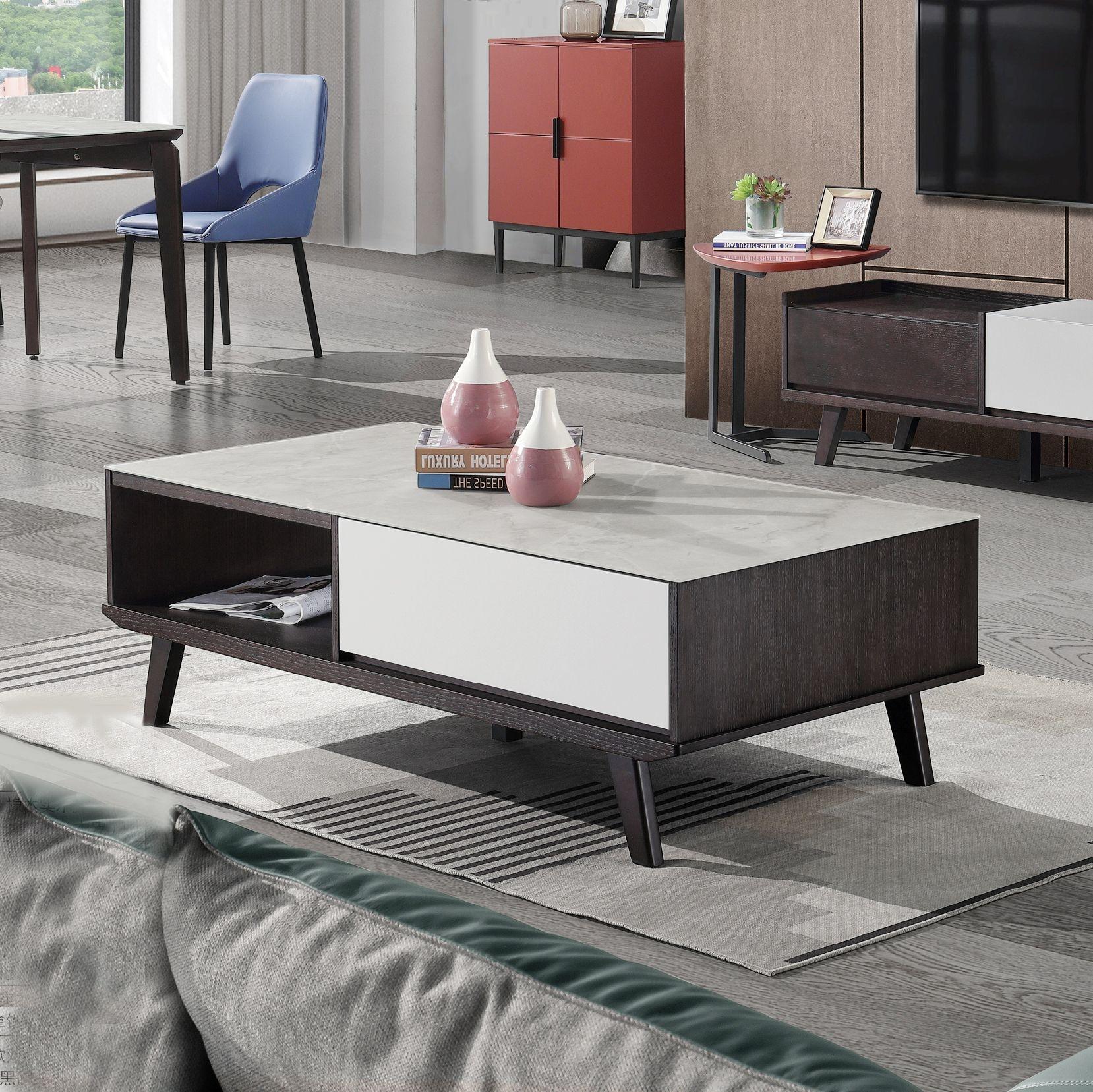 【新红阳】EVE系列  现代极简  小户型客厅创意长方形茶桌  茶几