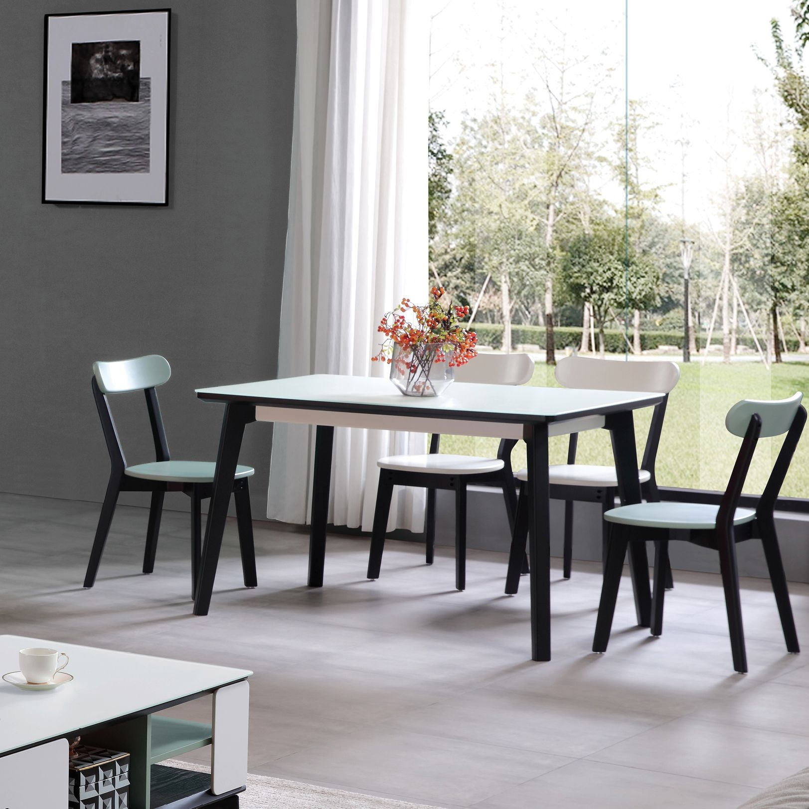 【新红阳】柜客系列  现代极简 双色拼接餐桌 橡木实木结构1.35米六人位长方形 餐桌