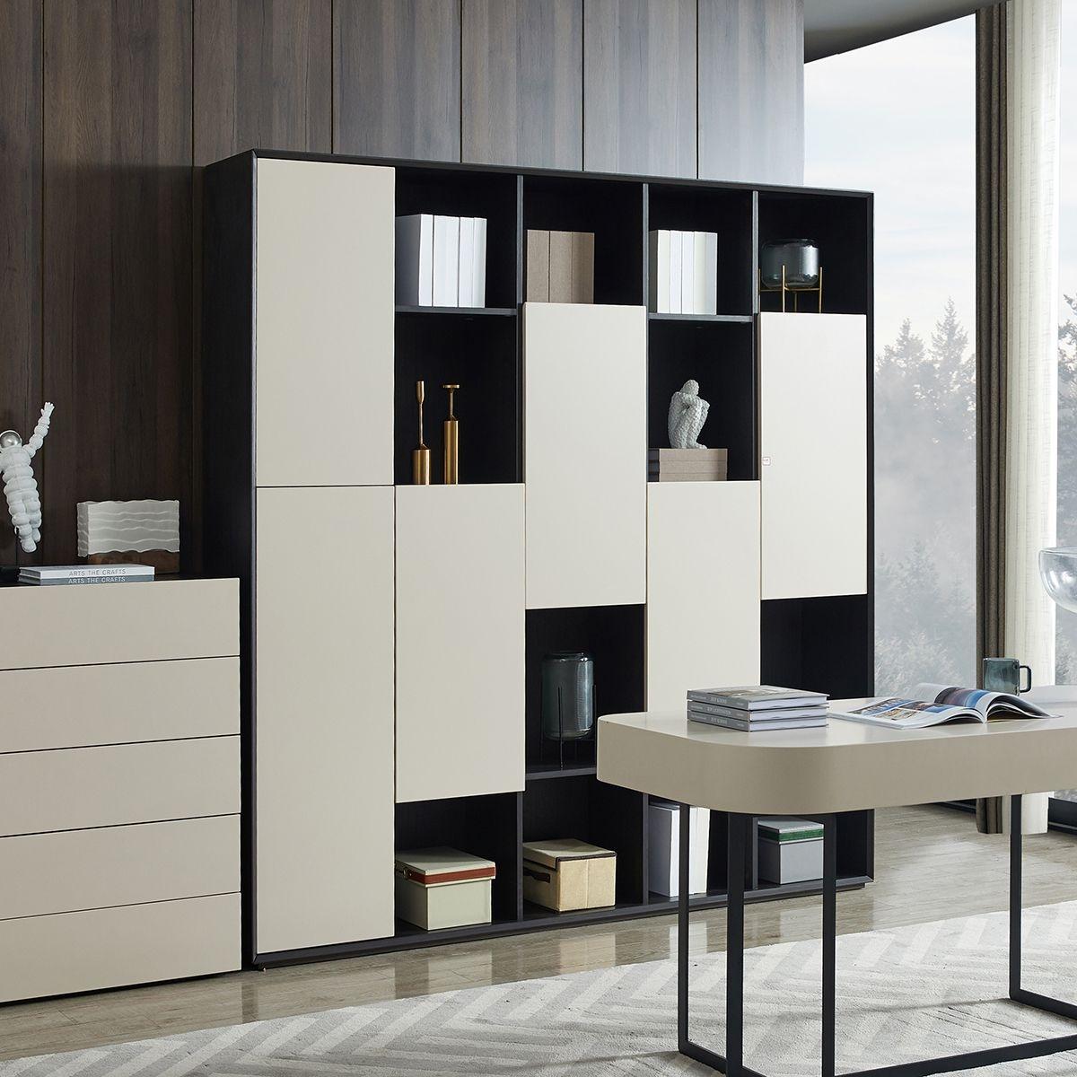 【金柏居】艾格系列 现代简约书柜创意书架  带门书柜落地储物书柜