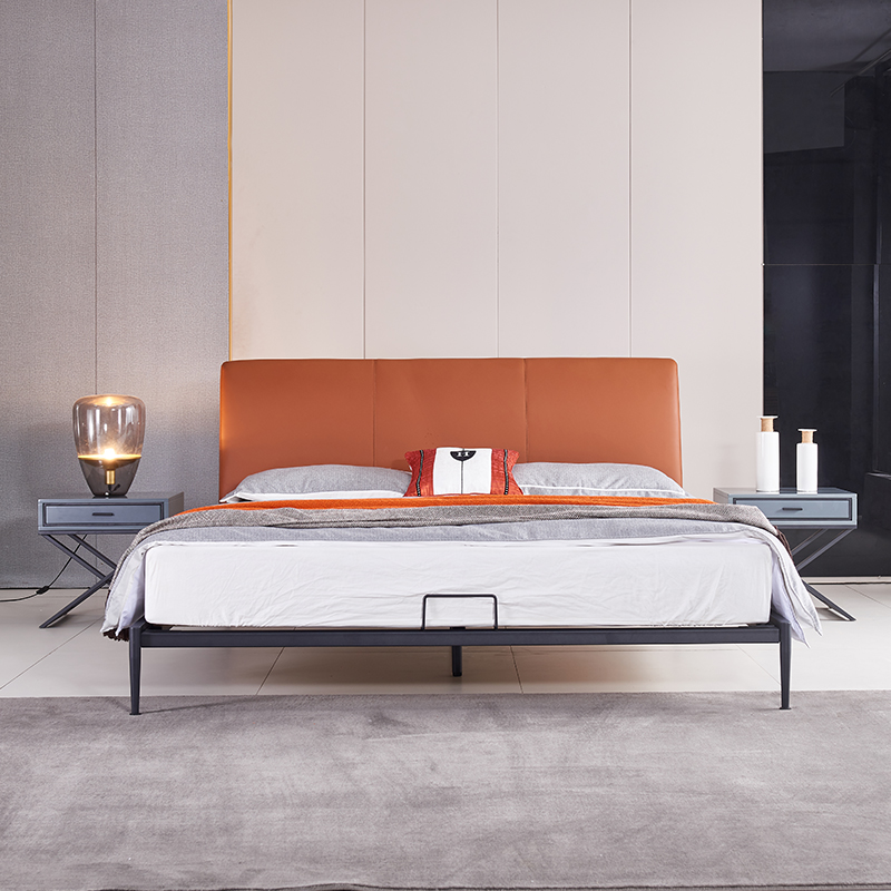 【麦发家居 】意式极简真皮床1米8现代简约双人床主卧轻奢北欧风网红软包床