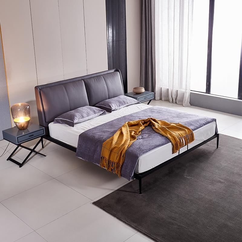 【麦发家居】意式极简真皮床1米8现代简约双人床主卧轻奢北欧风网红软包床