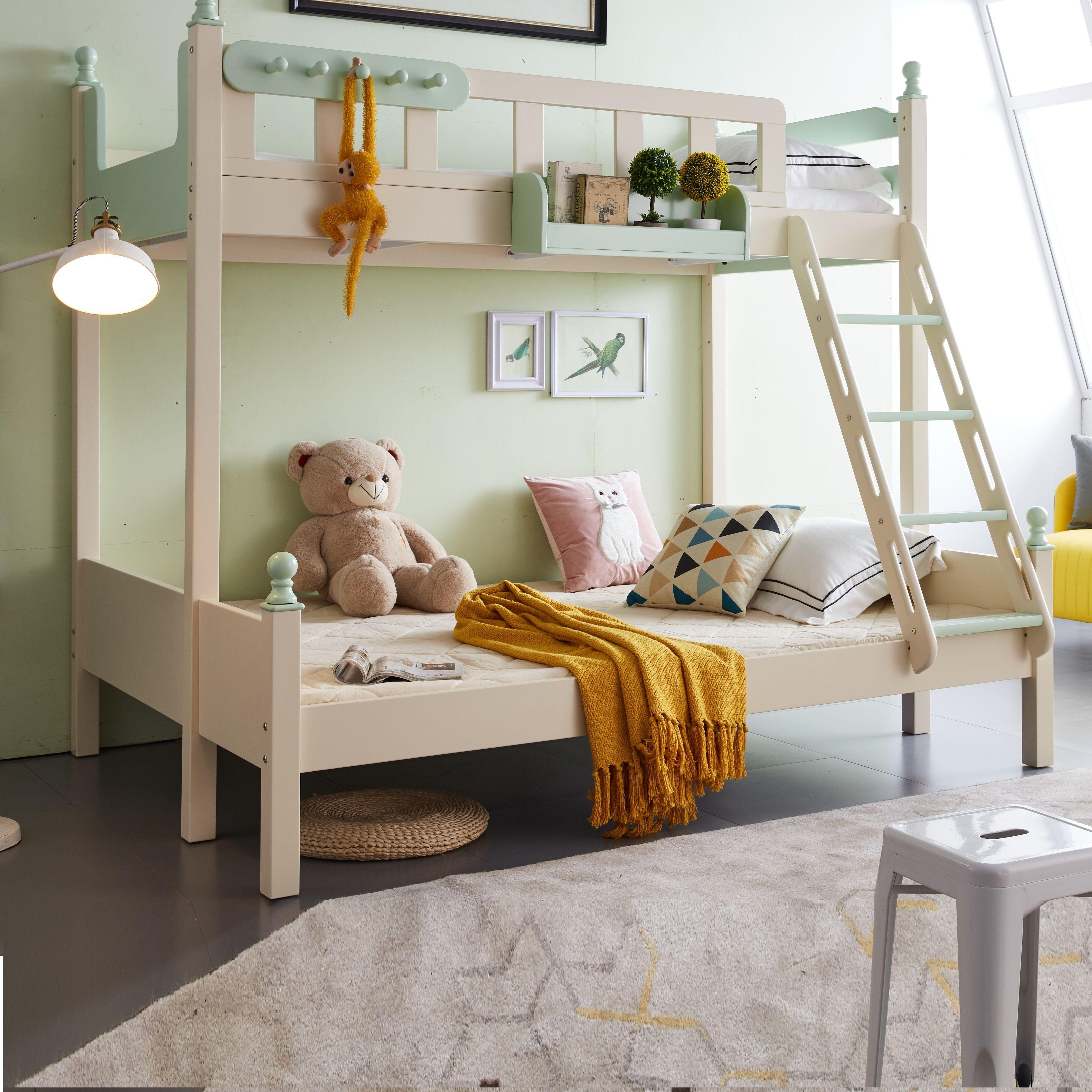 【玉槿之恋】高低床上下床双层床两层儿童床时尚简约橡木上下铺木床
