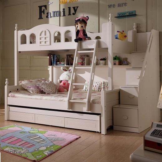 【玉槿之恋】高低床上下床双层床两层儿童床女孩公主床橡木上下铺木床母子床