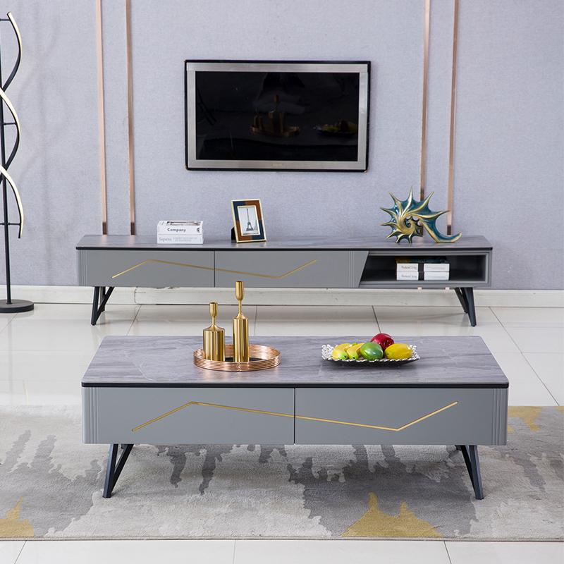 【尚意轩】轻奢岩板茶几电视柜组合现代简约客厅北欧大理石电视柜卧室小户型