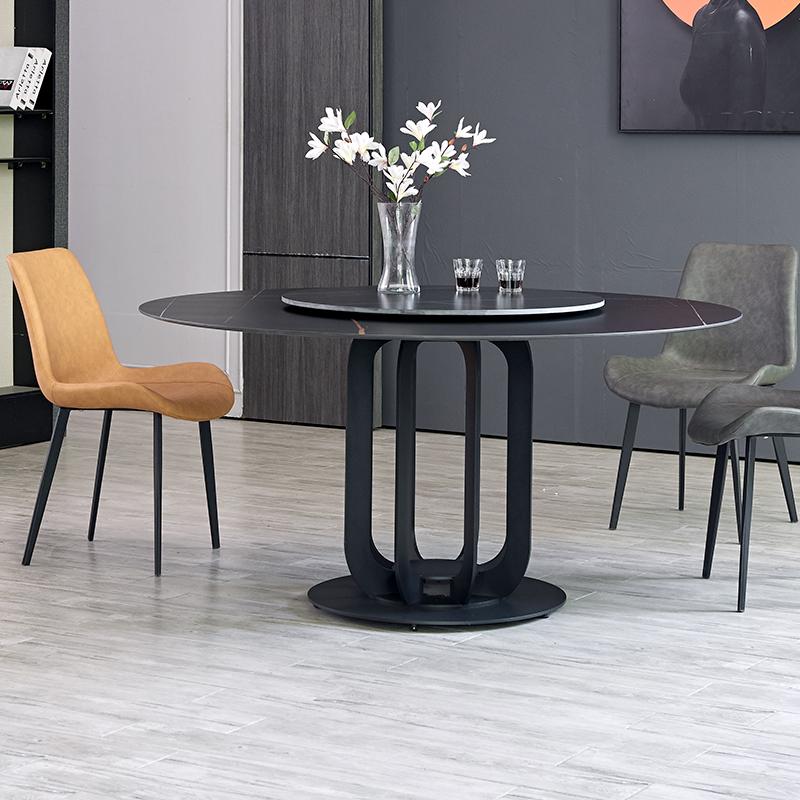 【尚意轩】意式极简进口岩板餐桌圆桌 小户型家用饭桌简约 大理石餐桌椅组合