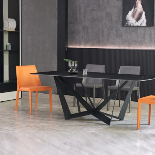 【尚意轩】北欧轻奢岩板餐桌家用小户型长方形餐桌 ins风网红款设计师餐桌椅